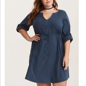 Torrid Teal Challis Zip Front Shirt Dress 0X